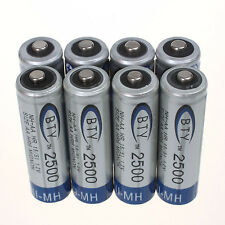Lot of 8pcs BTY 2500MAH AA Ni-MH Rechargeable Battery Durable Batteries