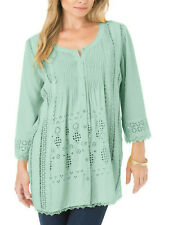 Denim 24/7 DUSTY GREEN Eyelet Lace Pleat Front TUNIC Top 14 16 18 20 22 24 26