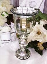 Teelichthalter Windlicht Kerzenständer Bauernsilber Glas 20cm Shabby Vintage