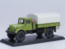 Scale model truck 1/43 MAZ-502 4х4 board with awning, tires Я-90 (green)