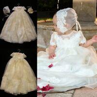 Baby Infant Toddler Christening Dresses White Ivory for Girls Baptism Headband