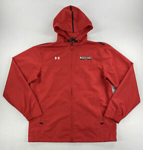 Under Armour Mens Maryland Terrapins Jacket Full Zip Water Resistant Red Size M