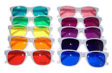 Hipster Womens Sunglasses Set of 10 White Frame Color Lenses Wayfarer Retro