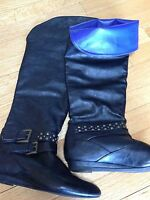 Madden Girl Black Over The Knee Flat Boots Brass Studs Women's 6 Minimal Wear