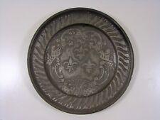 Ancienne Assiette Etain, Décor Blason Jacques Coeur, Poinçon, D - 24,3 cm