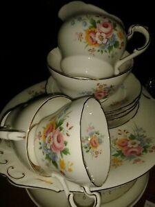 VINTAGE BONE CHINA BRIGHT COLOURFUL FLORAL PARAGON No.220 VARIOUS TEA SET PIECES