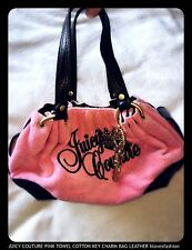 💖Juicy Couture Pink Towelling Key Charm Bag Purse Leather Steel Cotton Quality