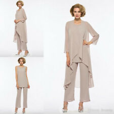 Mother Of The Bride Pant Suit 3 Piece Chiffon Wedding Long Sleeves Custom Made
