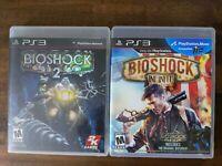 USED BioShock 1+2+Infinite - PlayStation 3 PS3 - Trilogy Lot of 2 Bundle *READ*