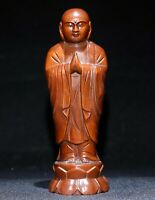 14.5cm Collect natural Boxwood carved monk pray buddha Statue figurines decor
