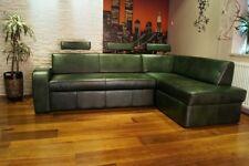 Grün Echtleder Ecksofa Echt Leder Rindsleder Sofa Couch mit Schlaffunktion