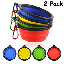 2 Pack Set Portable Travel Collapsible Fold-able Pet Dog Bowl Food & Water Dish