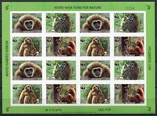 Laos Lao 2008 WWF Gibbons Monkeys ZD-Kleinbogen Ungezähnt Imperf 2062-65B ** MNH