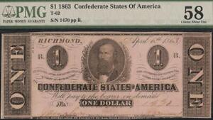 1863 $1 DOLLAR CONFEDERATE STATES CURRENCY CIVIL WAR NOTE MONEY T-62 PMG 58
