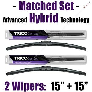 """Matched Set 2 Hybrid Wipers 15""""+15"""" Trico Sentry Wiper Blades 1980+ - 32-150/150"""