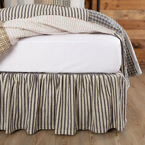 "VHC Brands Ashmont Farmhouse Queen Bed Skirt Grey White Striped Cotton 60x80x16"""