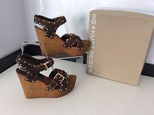 KURT GEIGER Kg NICKLE NEW Brown wedge Shoes Peep Toe Size 38 Uk 5 Boxed Rrp £150