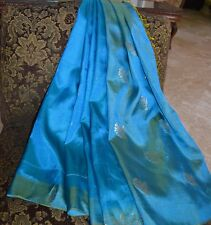 ~~~ FREE GIFT + BLUE GOLD PURE SILK SARI ETHNIC INDIA SAREE FABRIC DRAPES !!!!!