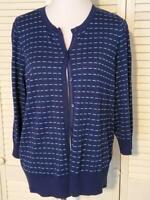 Nordstrom Halogen Plus Size Long Sleeve Navy Blue Button Cardigan Size 1X