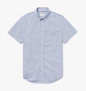 "Lacoste Mens Shirt BNWT 46"" Chest Regular Fit Short Sleeve Navy Blue White Check"