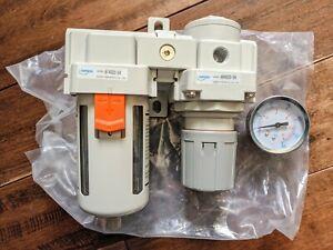 "NANPU ARF4000 1/2"" NPT Compressed Air Filter Regulator Combo Piggyback, 5 Micron"