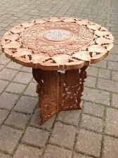 VINTAGE ORIENTAL HAND CARVED FLOWER LEAF FOLDING WOODEN SIIDE TABLE  INLAID TOP