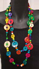 Long strand necklaceRainbow colours ,Shell & Wood flat coin beads  Multi colours