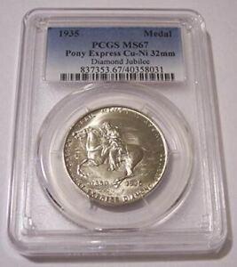 1935 Oregon Trail Diamond Jubilee - Pony Express Medal Cu-Ni MS67 PCGS