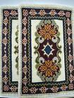 Antique Vintage Portuguese Handmade Needlepoint Rug Floral Flower Woven Wool