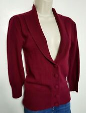 F&F 100% PURE CASHMERE CARDIGAN BLAZER JUMPER S BURGUNDY RED 157