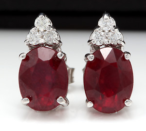 4.20ct Red Ruby and Natural Diamond 14K Solid White Gold Earrings