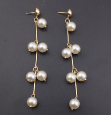 Long Tassel Pearl Drop Dangle Earrings Gold Silver Plated Ear Stud Jewelry Gift