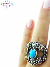 Turkish Handmade 925 Sterling Silver Jewelry Turquoise Adjustable Ring NEW R1050