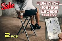 2 Pce EDC Escape Hostage Survival Card Multitools Credit Card Wallet Size