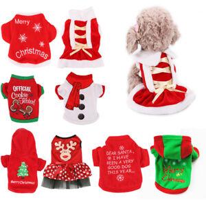 Dog Puppy Christmas Santa Pattern Warm Costumes Coat Pet Clothes T-Shirt Apparel