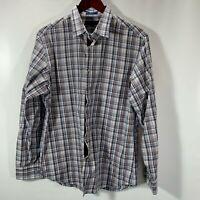Banana Republic Shirt Mens Size 15 M Medium Button Front Cotton Stretch Plaid