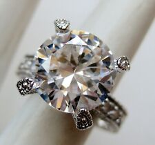 Cubic Zirconia Engagement Ring size 7 Vintage Sterling Silver Ati 5ct Cz