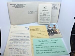 1953 Philadelphia A's Baseball Schedules Connie Mack Cover & Ticket  Info w/Env.