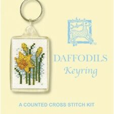 Yellow Daffodils Counted Cross Stitch Keyring kits by Textile Heritage KRDA