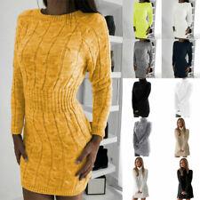Womens Knitted Sweater Jumper Dress Ladies Winter Warm Long Sleeve Mini Dress
