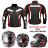 Waterproof Motorbike Textile Codura Jacket Motorcycle Full Face Helmet Crush New
