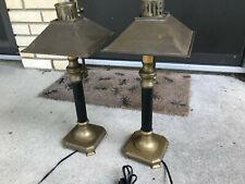 Pair of Paris Istanbul Orient Express Brass Table Lamp Desk Train Railroad