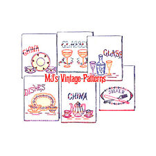Vintage China Silver Glass Kitchen Tea Towels Embroidery Pattern