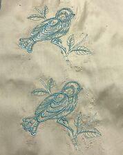 EMBROIDERED BLUEBIRDS on CREAM - Silk DUPIONI Fabric
