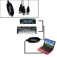 New! USB In Out MIDI Interface Cable Converter PC To Music Keyboard Adapter Cord