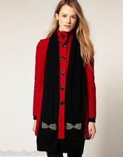 Juicy Couture Women's Vanderbilt Wool Scarf Embellished Bow Pockets Black