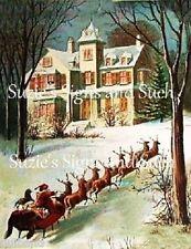 Vintage Victorian Christmas Image Printed onto Fabric Santa's Reindeer