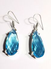 LIGHT BLUE TOPAZ   CABOCHON STERLING SILVER FILLED DROP EARRINGS