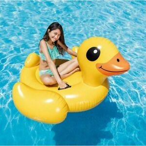 Intex Yellow Duck Inflate Pool Beach Float Ride-On Big Mat Adults Kids Raft FUN