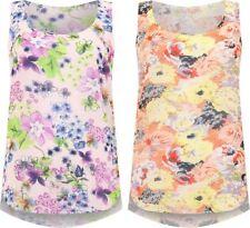Womens Plus Size Floral Print Chiffon Hi Lo Dip Hem Vest Ladies Sleeveless Top